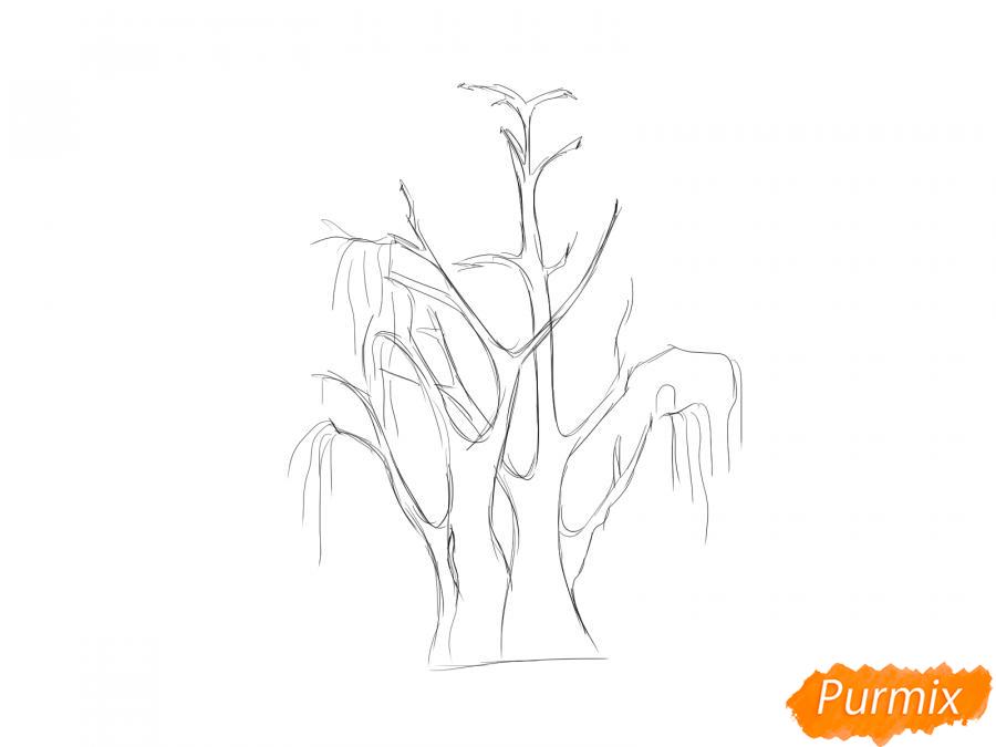 Рисуем сухую иву - шаг 3