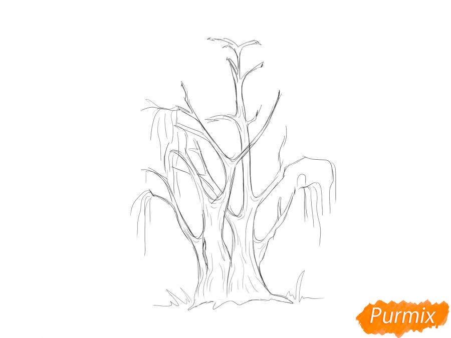 Рисуем сухую иву - шаг 4