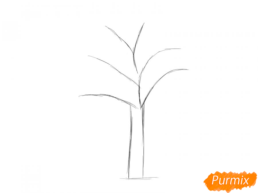 Рисуем сухую яблоню - шаг 2