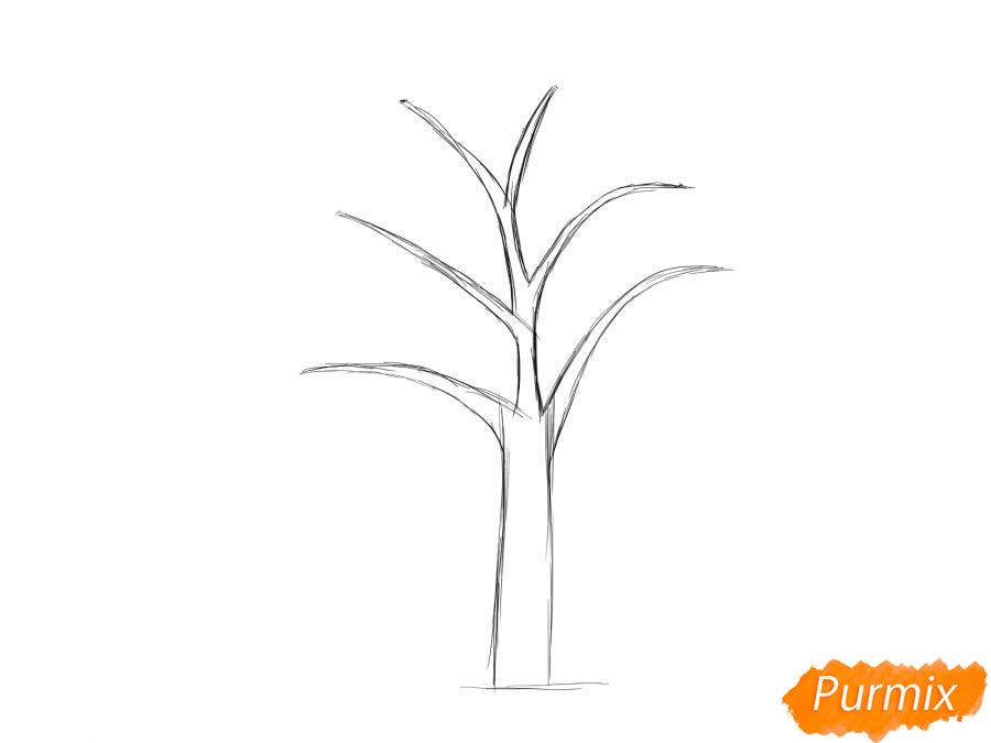 Рисуем сухую яблоню - шаг 3