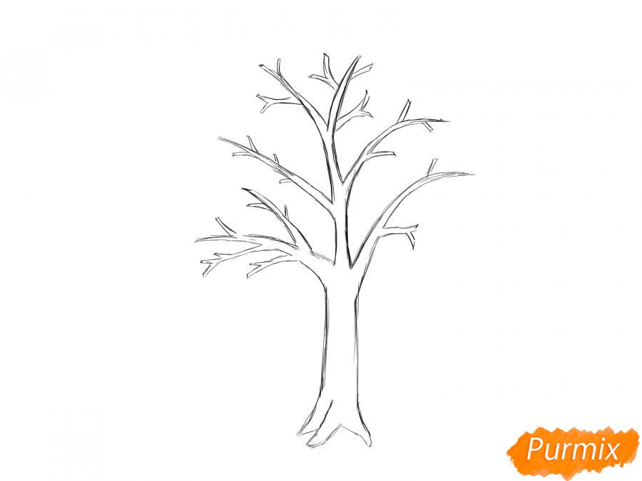 Рисуем сухую яблоню - шаг 4