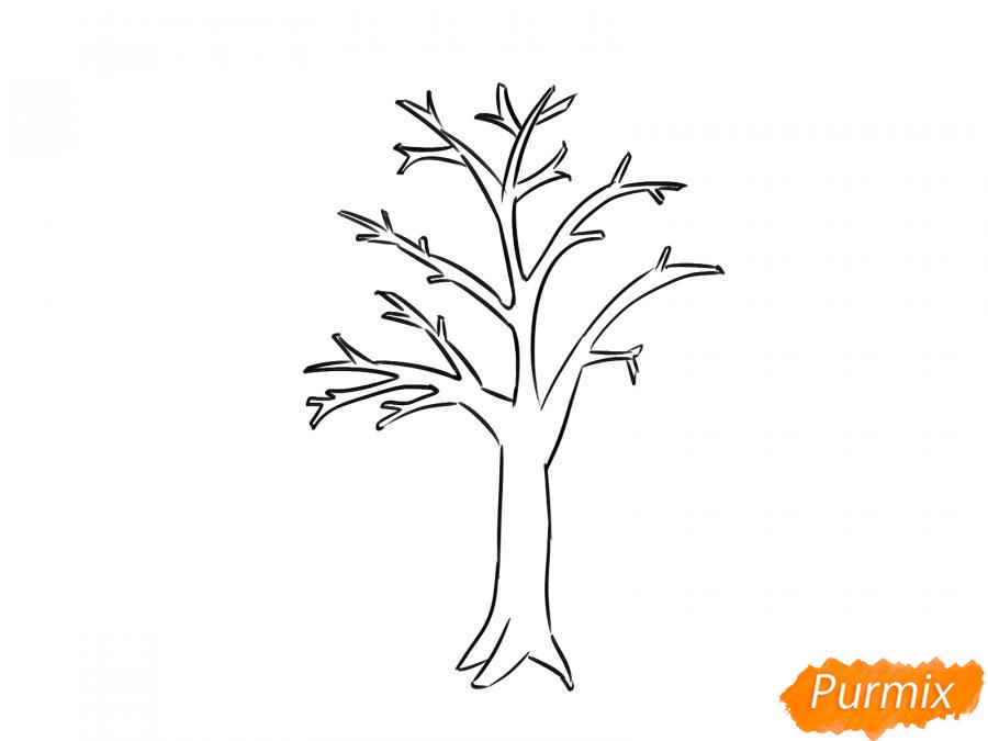 Рисуем сухую яблоню - шаг 5