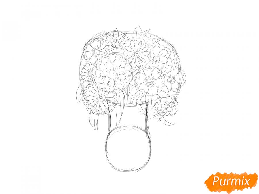 Рисуем вазу с цветами  и красками - шаг 4