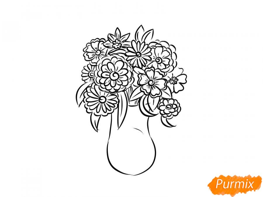Рисуем вазу с цветами  и красками - шаг 5