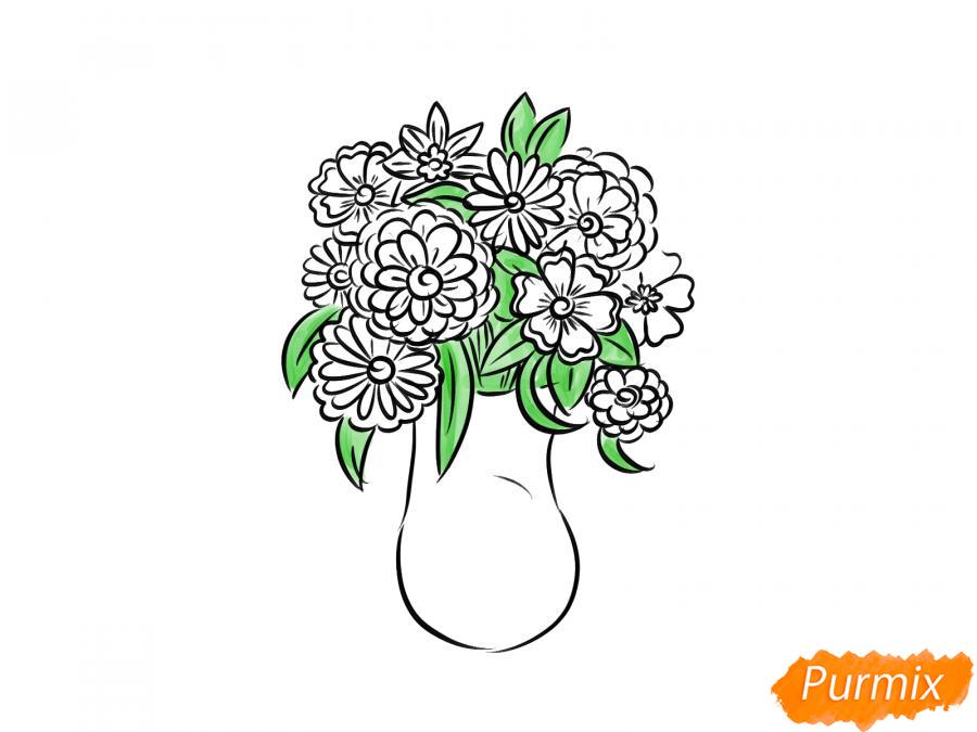 Рисуем вазу с цветами  и красками - шаг 6