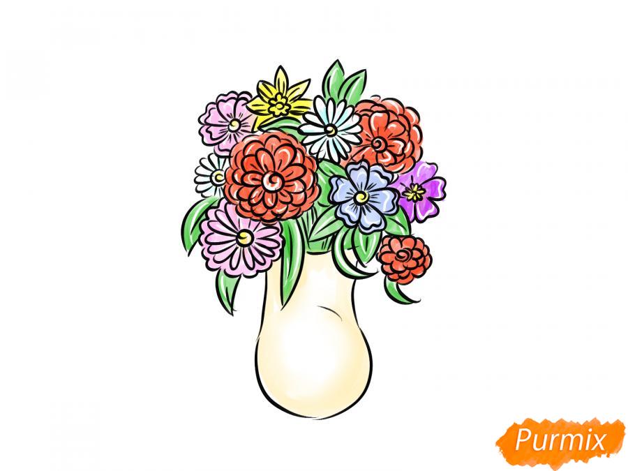 Рисуем вазу с цветами  и красками - шаг 8