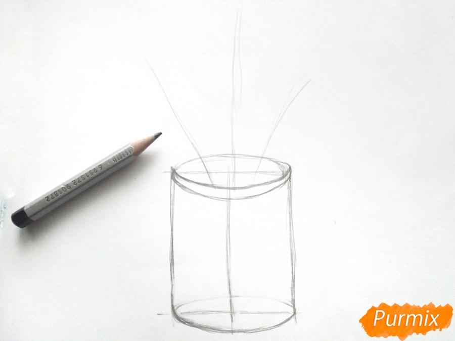 Рисуем вазу с осенними листьями - шаг 2
