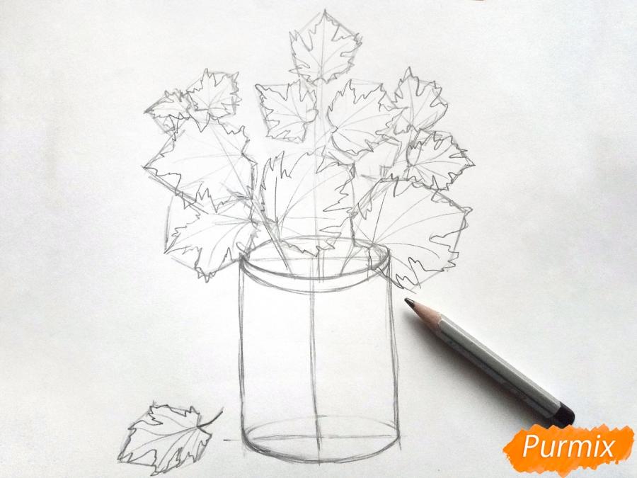 Рисуем вазу с осенними листьями - шаг 4