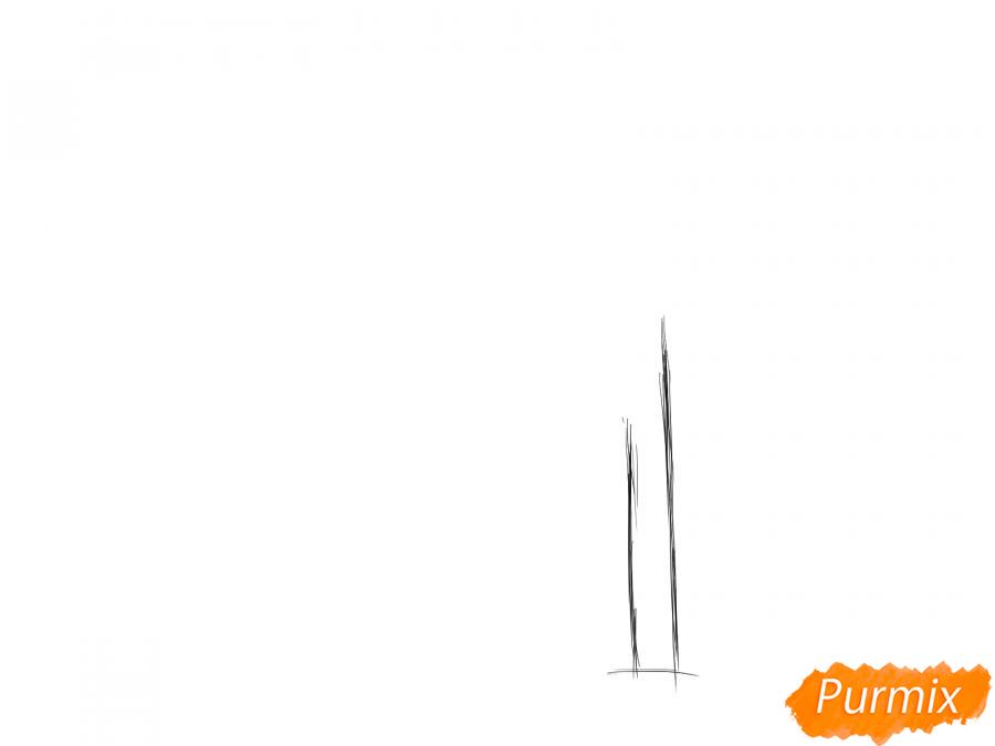 Рисуем весеннее дерево под ветром - шаг 1