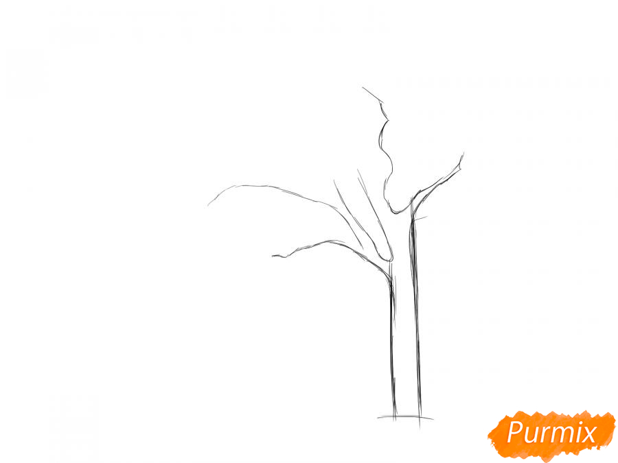 Рисуем весеннее дерево под ветром - шаг 2