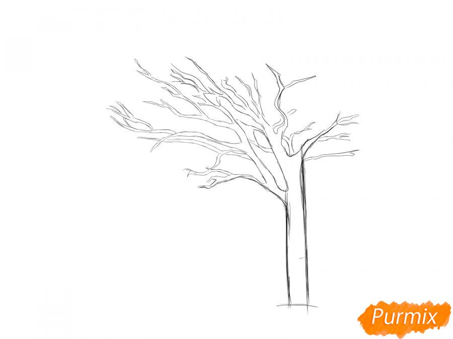 Рисуем весеннее дерево под ветром - шаг 3