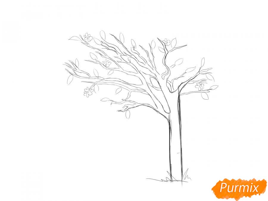 Рисуем весеннее дерево под ветром - шаг 4