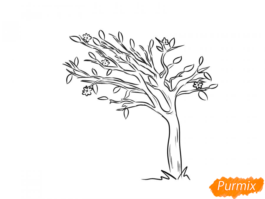 Рисуем весеннее дерево под ветром - шаг 5