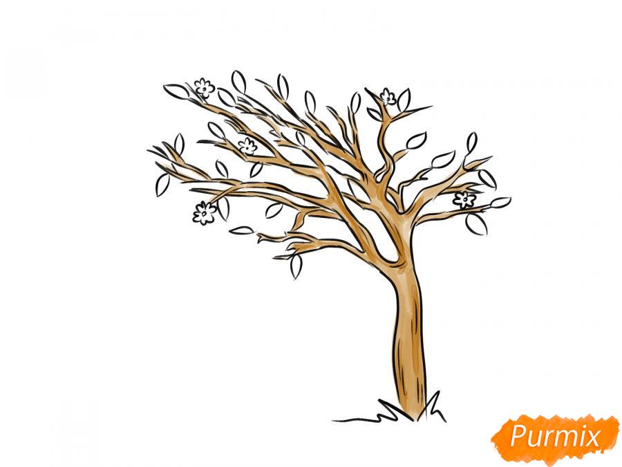 Рисуем весеннее дерево под ветром - шаг 6