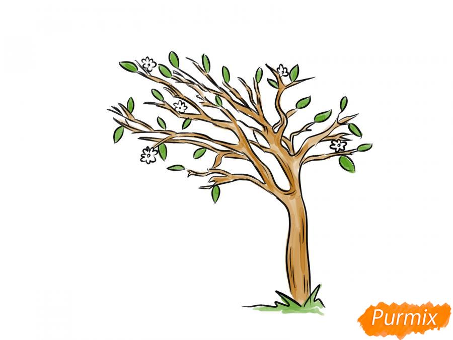 Рисуем весеннее дерево под ветром - шаг 7