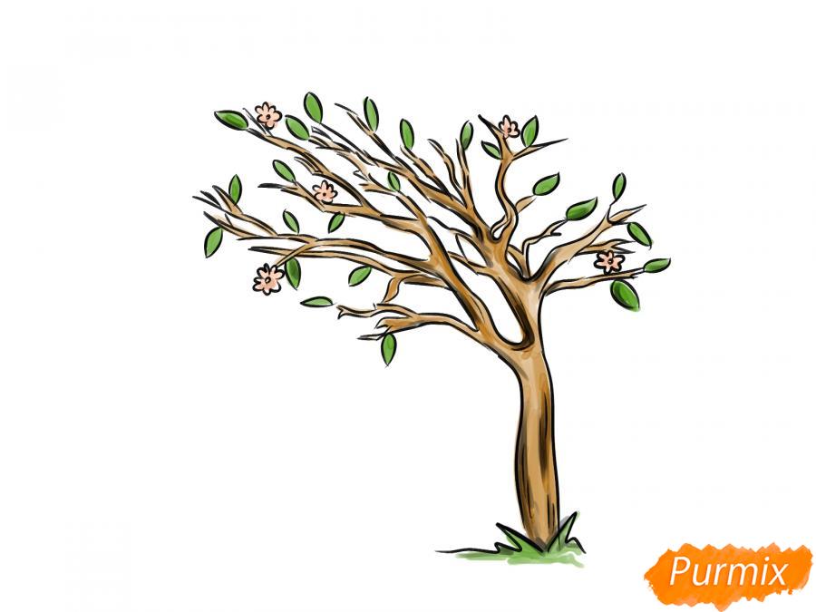 Рисуем весеннее дерево под ветром - шаг 8