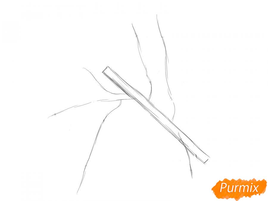 Рисуем ветку абрикоса - шаг 2