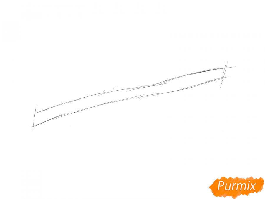 Рисуем ветку с листьями груши - шаг 1