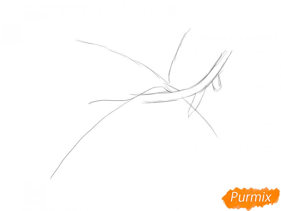 Рисуем ветку с листьями сливы - шаг 2