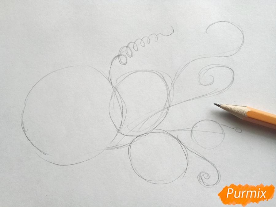 Рисуем ветку с листьями винограда - шаг 1