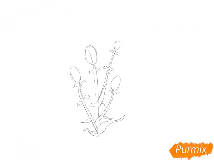 Рисуем веточку гвоздики - шаг 2