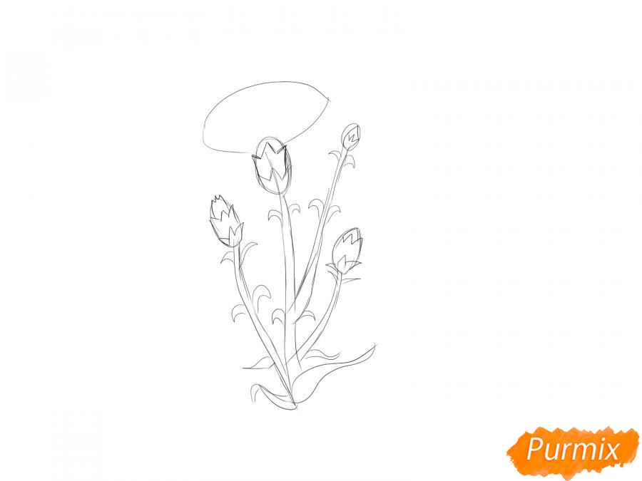Рисуем веточку гвоздики - шаг 3