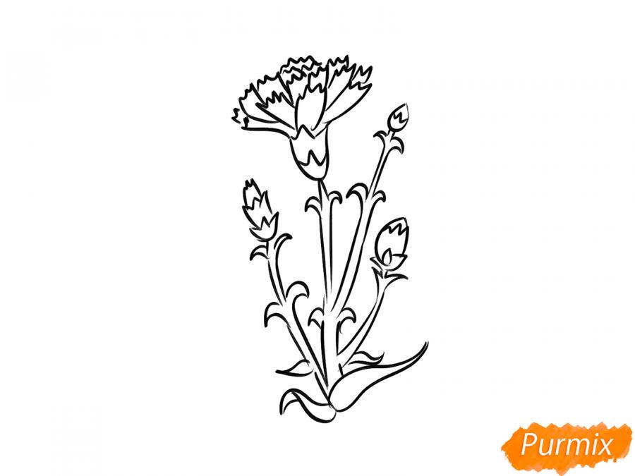 Рисуем веточку гвоздики - шаг 5