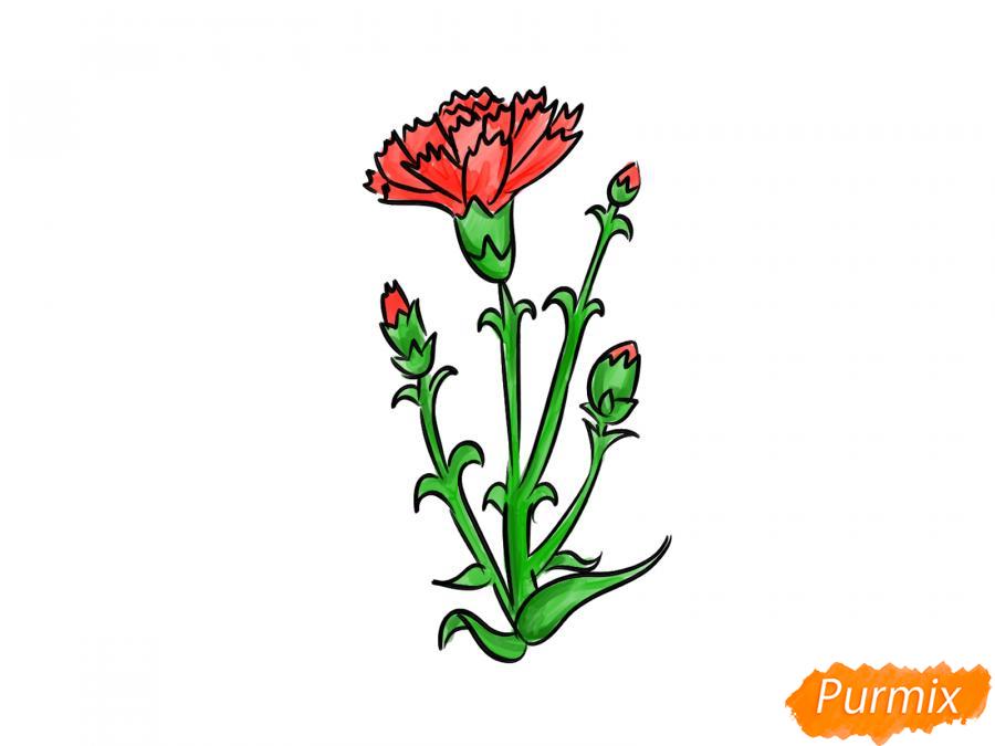 Рисуем веточку гвоздики - шаг 7