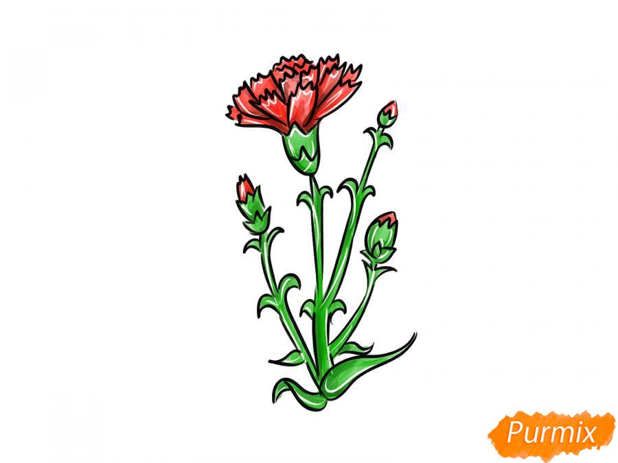 Рисуем веточку гвоздики - шаг 8