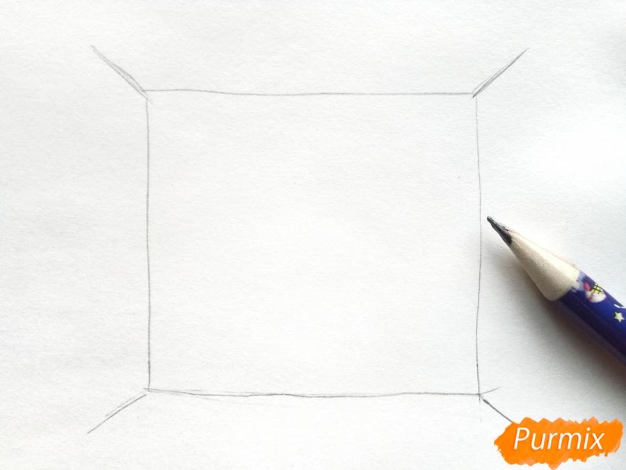 Рисуем вид из окна зимой - шаг 1