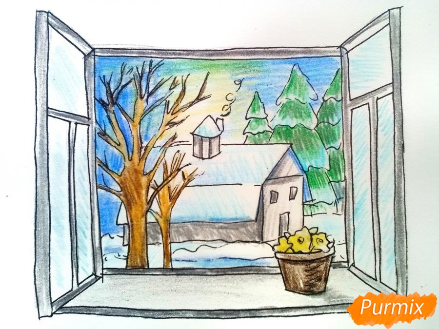 Рисуем вид из окна зимой - шаг 10