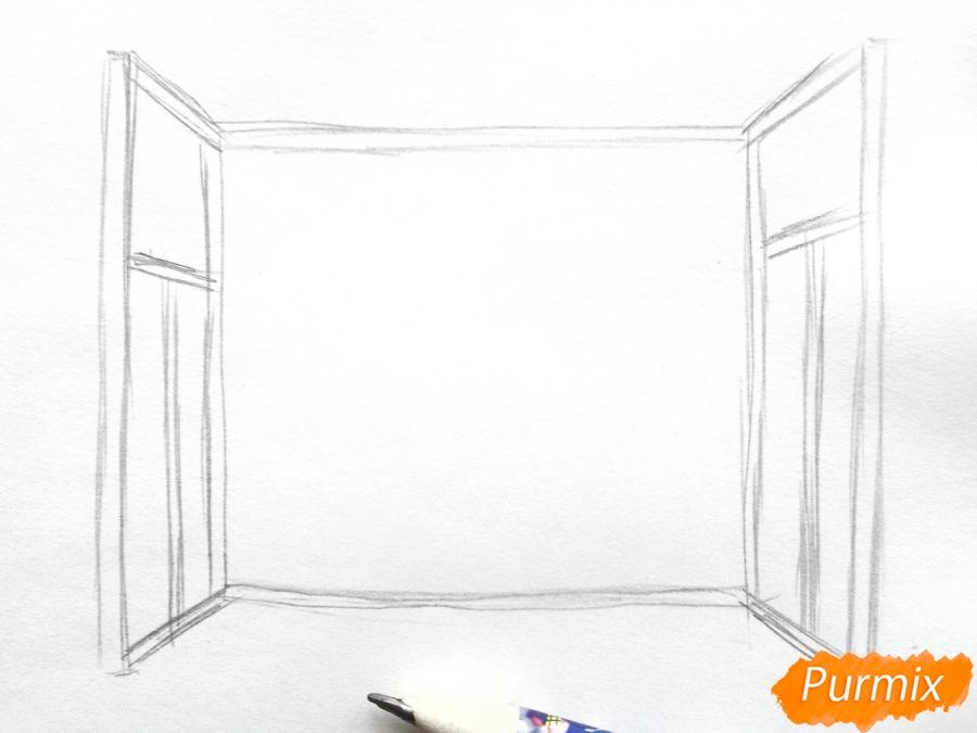 Рисуем вид из окна зимой - шаг 2