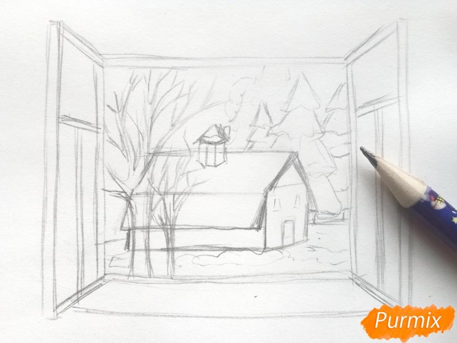 Рисуем вид из окна зимой - шаг 4