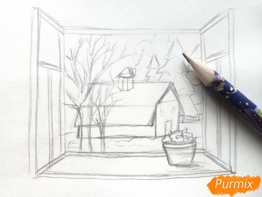 Рисуем вид из окна зимой - шаг 5