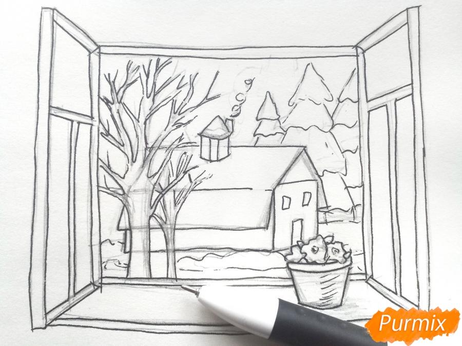 Рисуем вид из окна зимой - шаг 6