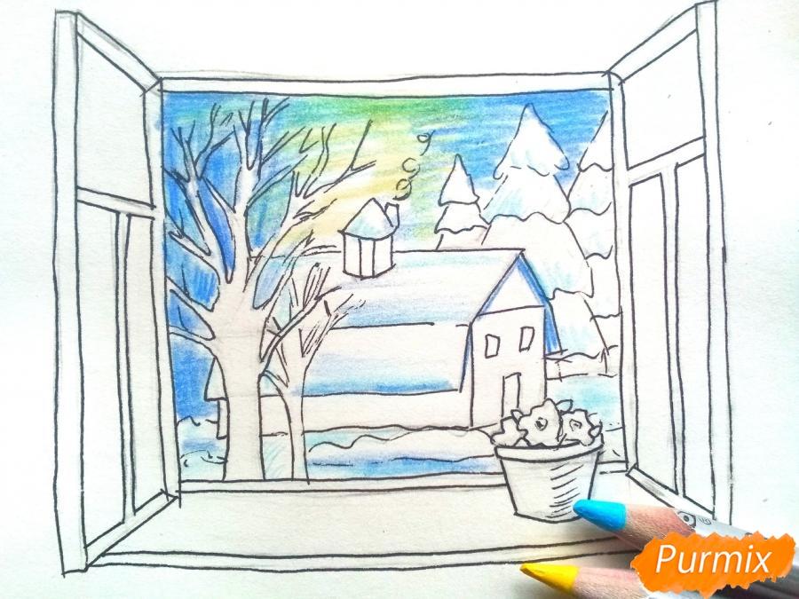 Рисуем вид из окна зимой - шаг 7