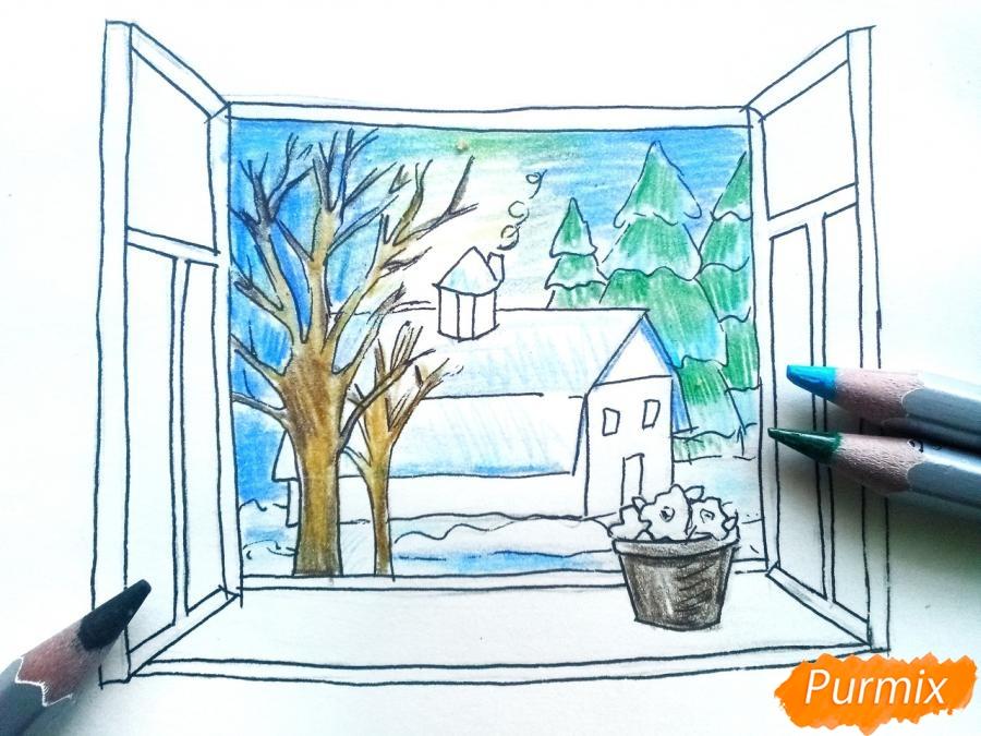 Рисуем вид из окна зимой - шаг 8