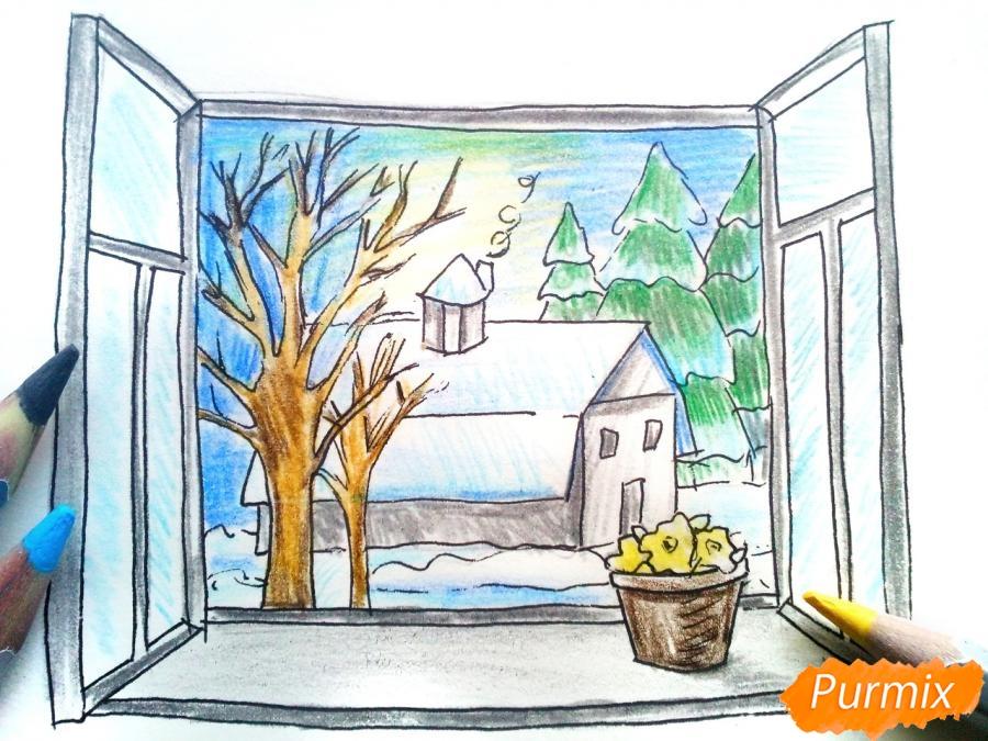 Рисуем вид из окна зимой - шаг 9