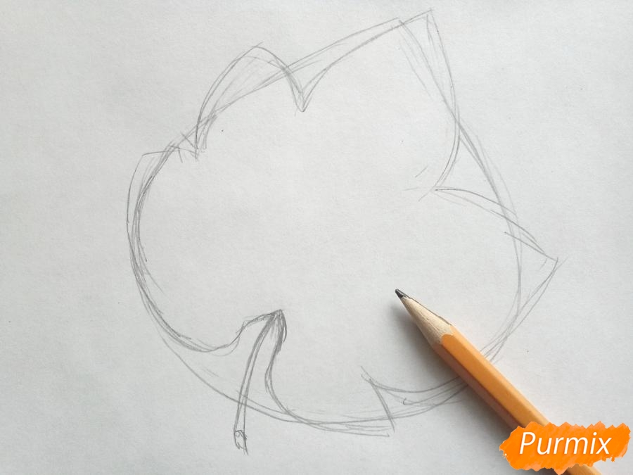 Рисуем виноградный лист - шаг 2