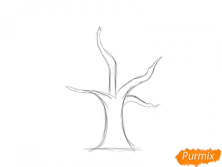 Рисуем вишневое дерево без листьев - шаг 2
