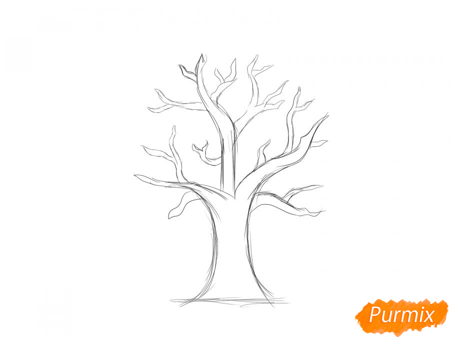 Рисуем вишневое дерево без листьев - шаг 3