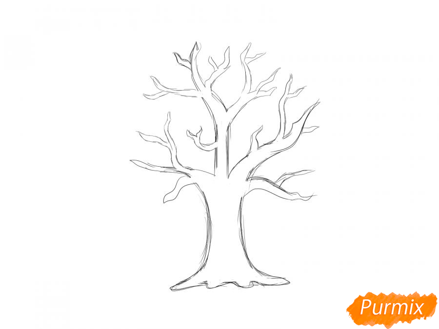 Рисуем вишневое дерево без листьев - шаг 4