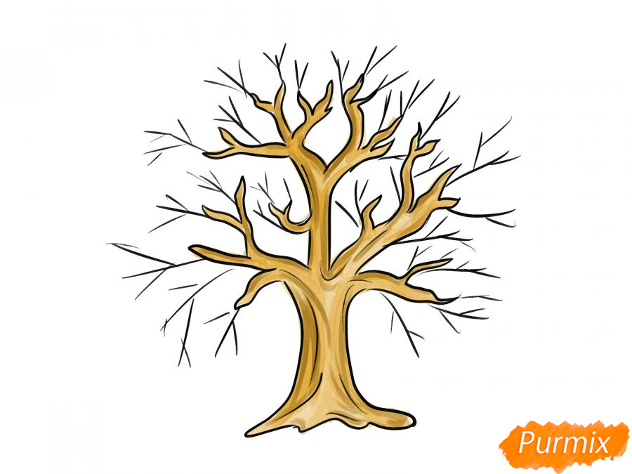 Рисуем вишневое дерево без листьев - шаг 6