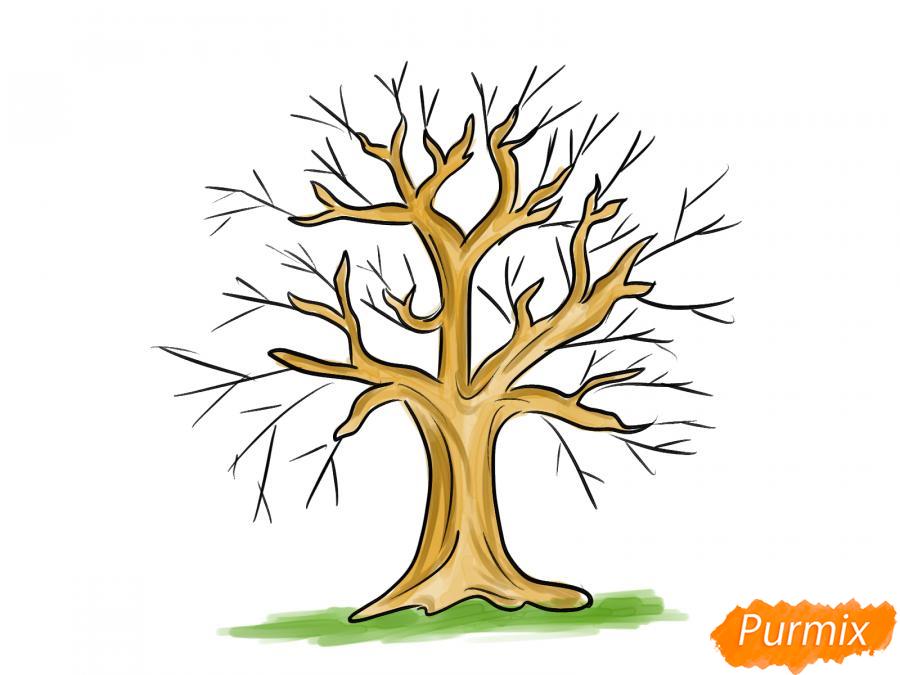 Рисуем вишневое дерево без листьев - шаг 7