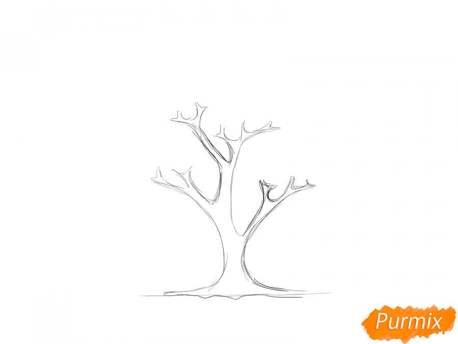 Рисуем вишневое дерево осенью - шаг 2