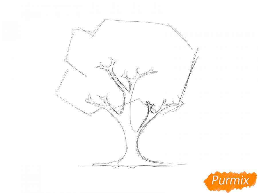 Рисуем вишневое дерево осенью - шаг 3