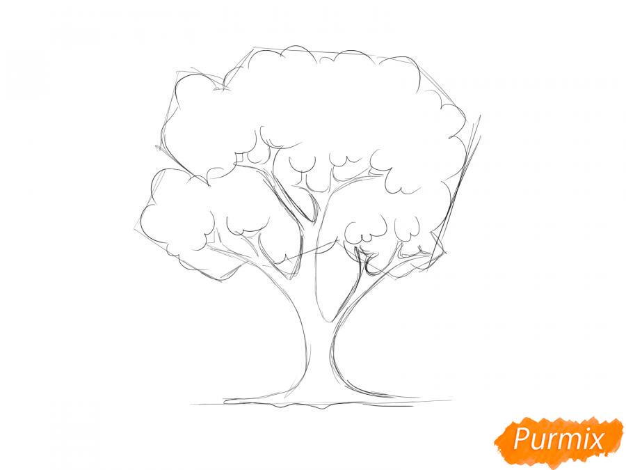 Рисуем вишневое дерево осенью - шаг 4