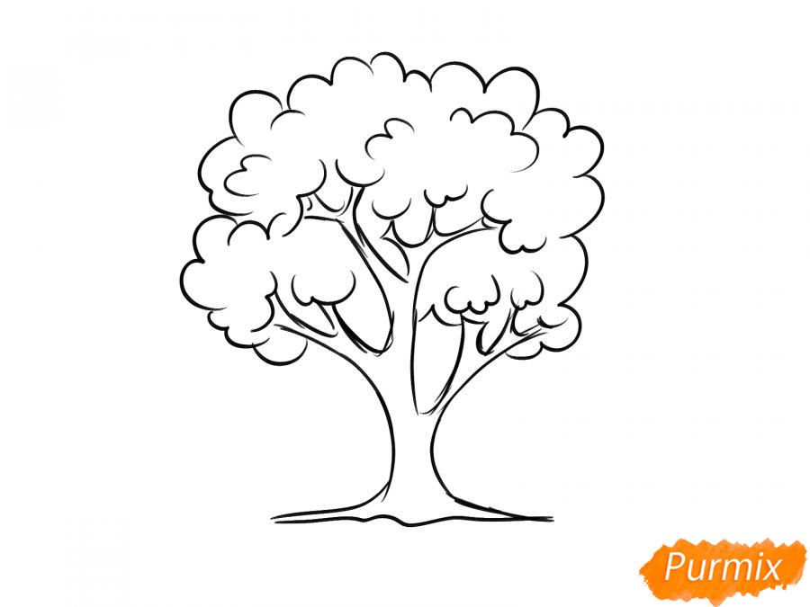 Рисуем вишневое дерево осенью - шаг 5