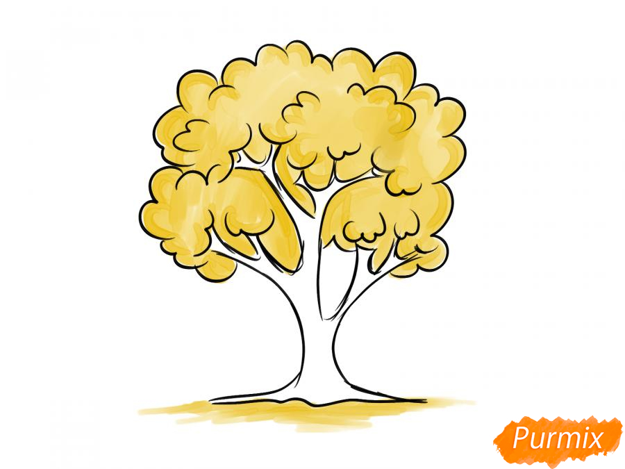 Рисуем вишневое дерево осенью - шаг 6