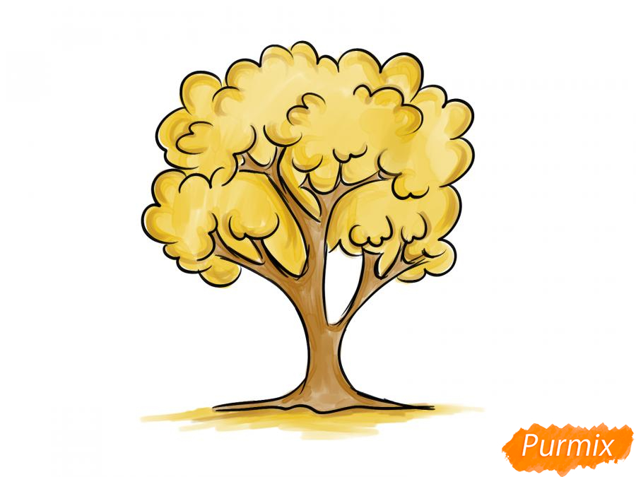 Рисуем вишневое дерево осенью - шаг 7